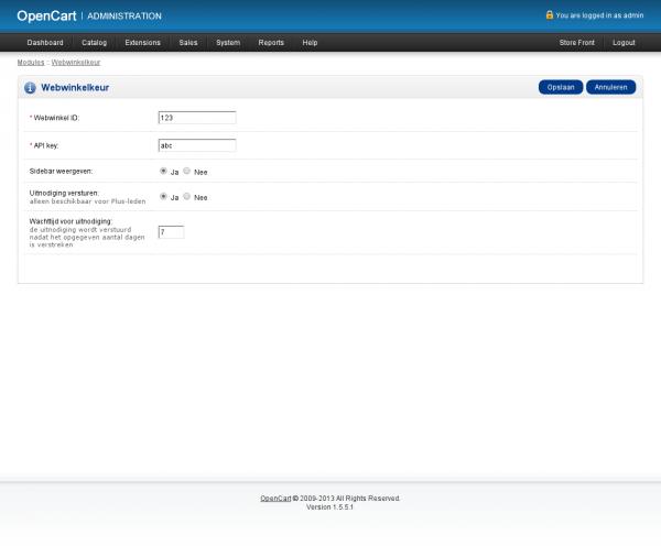 Het beheer van de OpenCart module