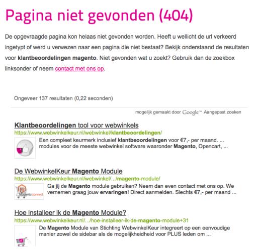 Bij WebwinkelKeur proberen we middels een zoekfunctie relevante pagina's weer te geven die nog wel bestaan