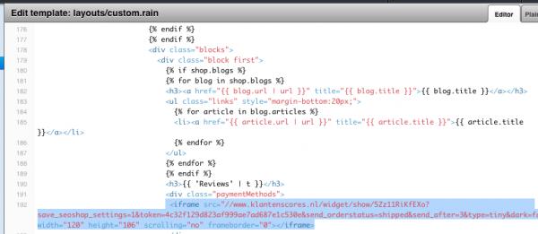Voorbeeld van de oude Klantenscores Iframe code