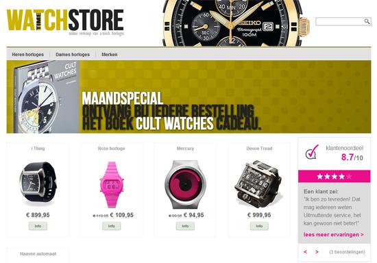 In ons voorbeeld is de widget nu rechts zichtbaar op de webwinkel