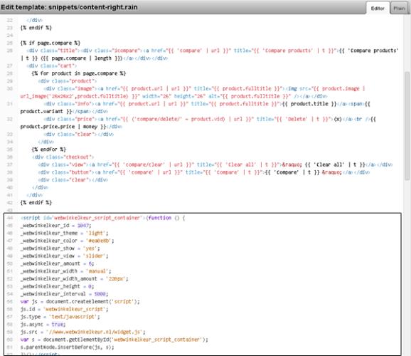 Plak de HTML code middels de template editor