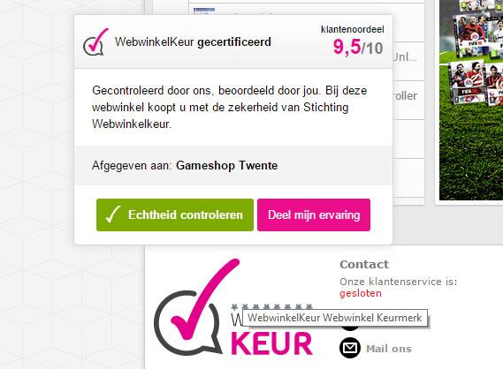 Het echtheidscertificaat van WebwinkelKeur