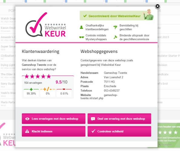 De WebwinkelKeur echtheidscertificaat Pop-Up