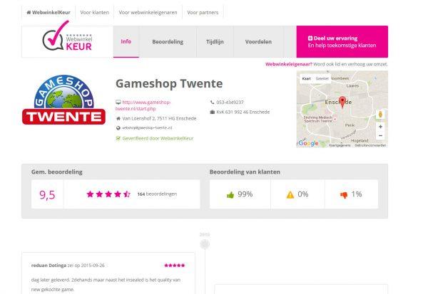 De ledenpagina van Gameshop Twente op WebwinkelKeur