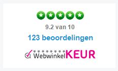Weergave van WebwinkelKeur logo in widget van The Feedback Company