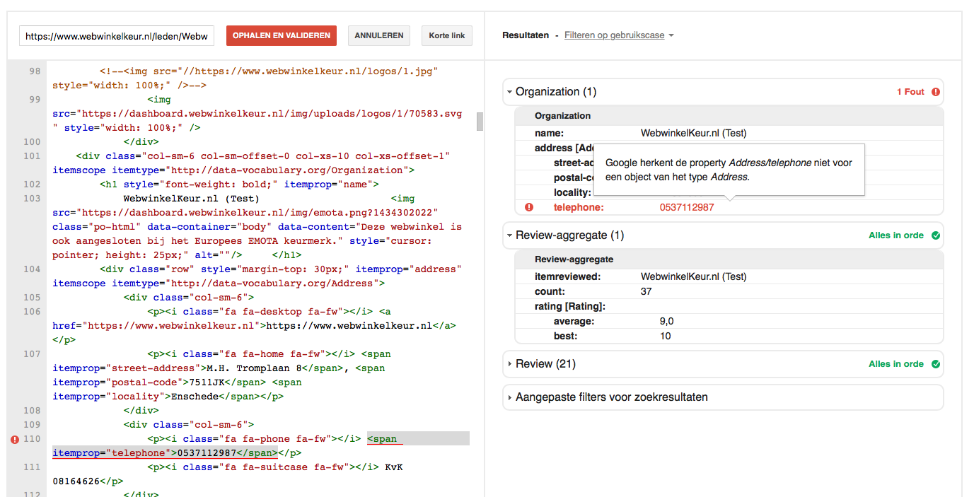 In dit voorbeeld is de review Aggregate tag goed geplaatst. De organization tag bevat echter nog fouten.