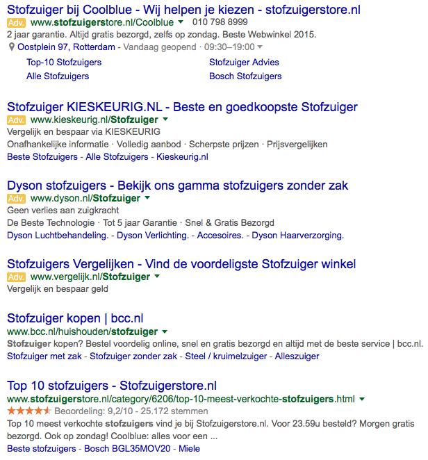 Tegenwoordig staan er maar liefst 4 betaalde advertenties bovenaan de zoekresultaten
