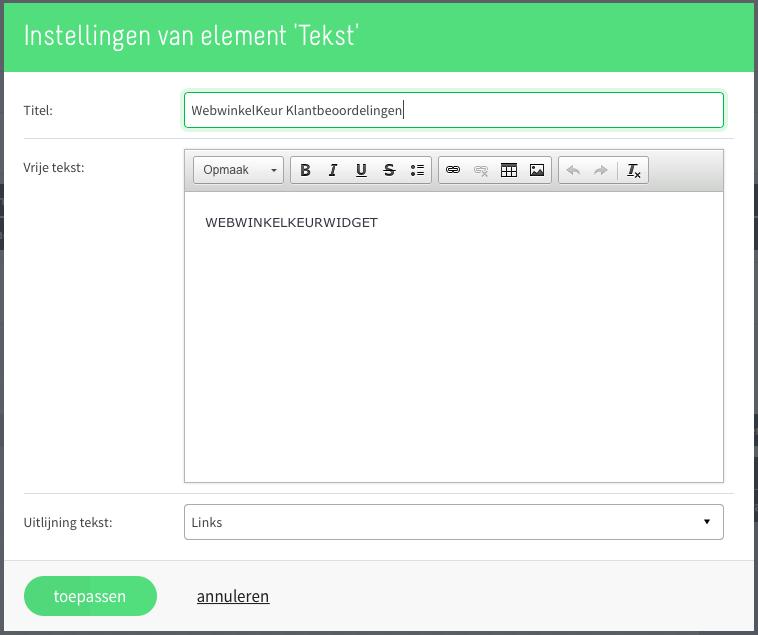 Middels een tekstblok in Mijnwebwinkel onze widget plaatsen