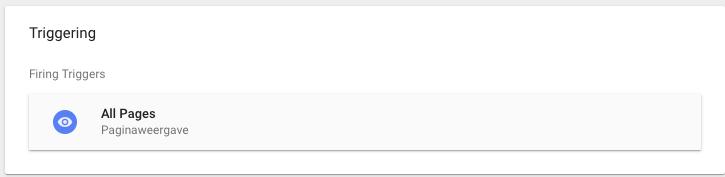 """Stel Triggering in op """"All pages"""" zodat de sidebar op alle pagina's van je webwinkel verschijnt"""