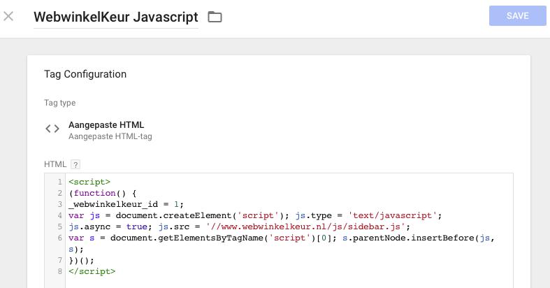 De Javascript code ingesteld via GTM