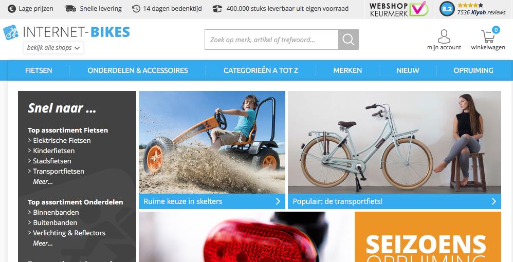 Internet-bikes.com is één van de webwinkels van T.O.M. BV