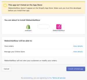 Geef WebwinkelKeur toegang tot jouw Shopify webwinkel