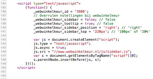 Sidebar code WebwinkelKeur