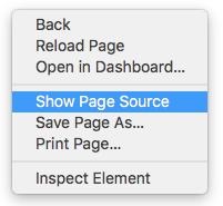 De broncode van de pagina weergeven