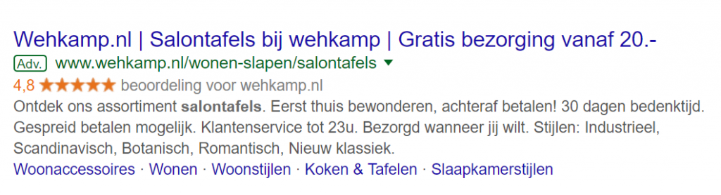 voorbeeld Google Seller Rating