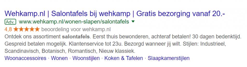 voorbeeld Google Seller Rating