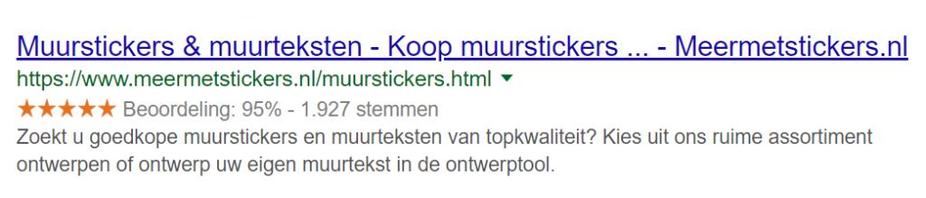 Voorbeeld rich snippets van Google
