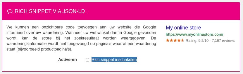 Activatie van de Rich Snippet Sterren via de WebwinkelKeur Sidebar