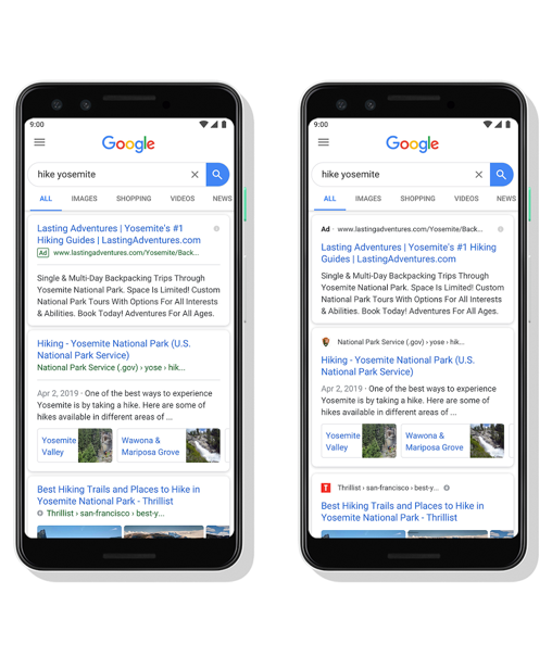google mobiele zoekresultaten