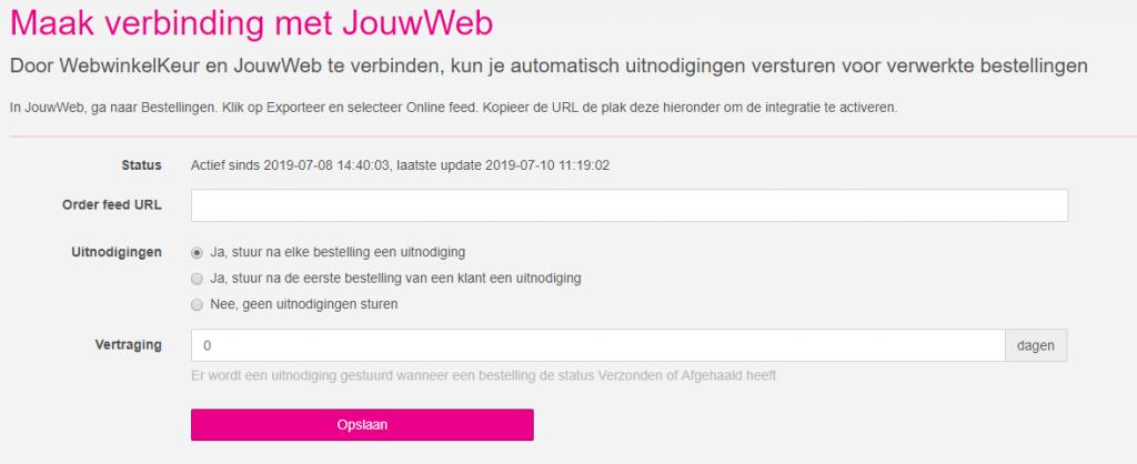 jouwweb integratie webwinkelkeur 2