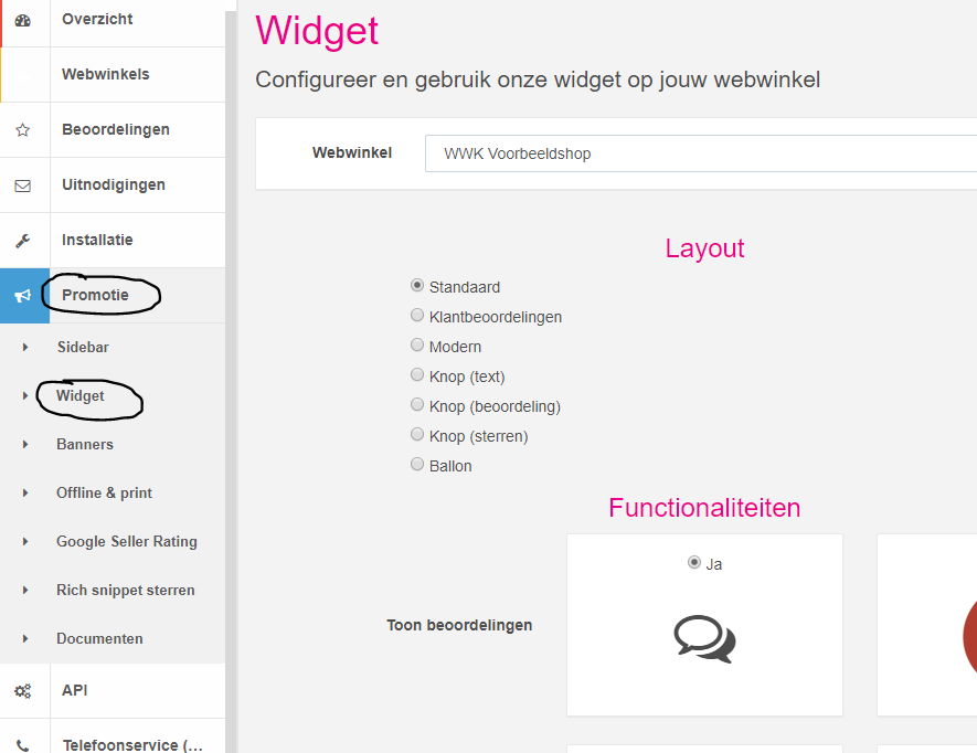widget jouwweb installatie