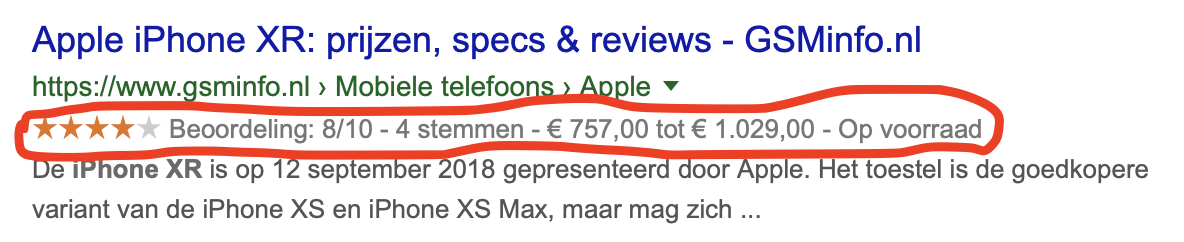 Extra opvallen in Google met Product Rich Snippets