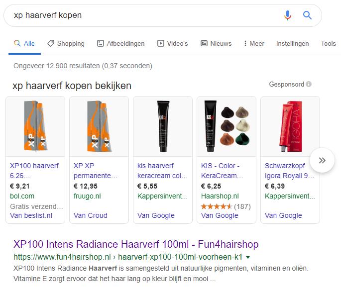 google resultaten haarverf fun4hairshop