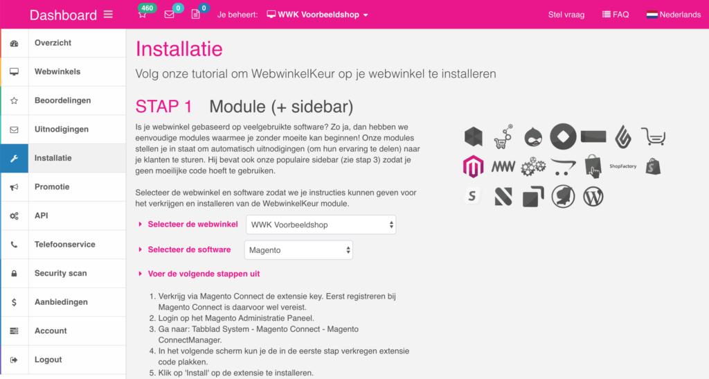 Screenshot dashboard webwinkelkeur modules